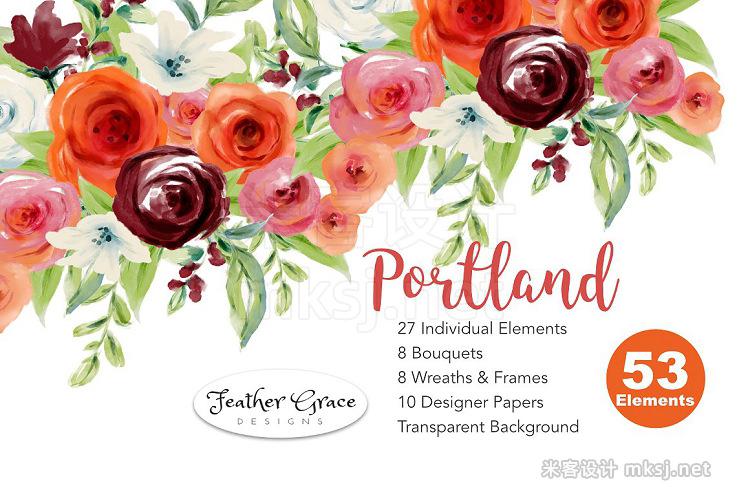 png素材 Watercolor Flowers-Pink Roses