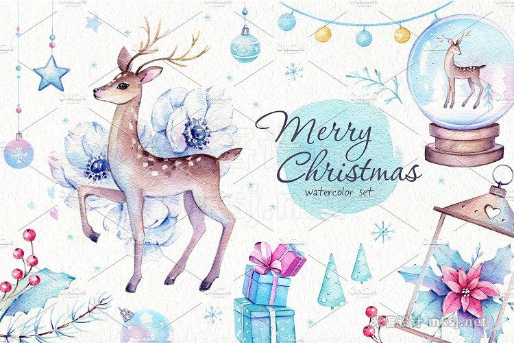 png素材 Christmas Deer Watercolor Set