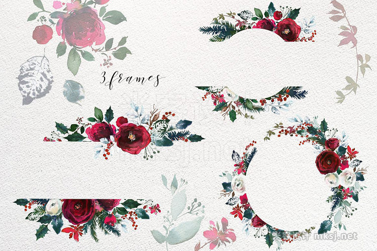 png素材 Christmas Watercolor Flowers Clipart