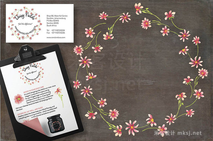 png素材 Watercolor wreath of pink daisies