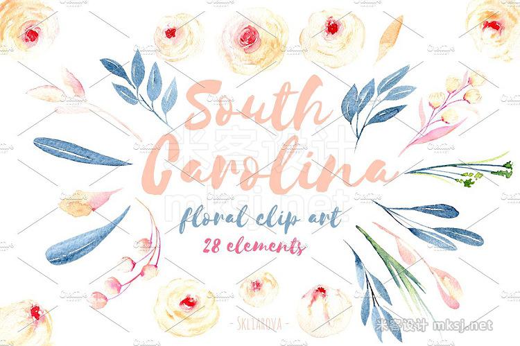 png素材 'South Carolina'' Floral elements