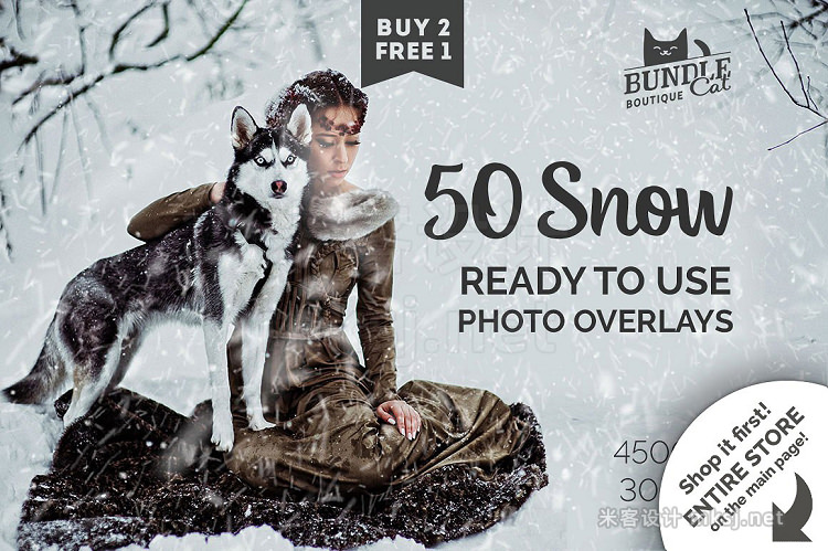 png素材 50 Falling Snow Photo Overlays