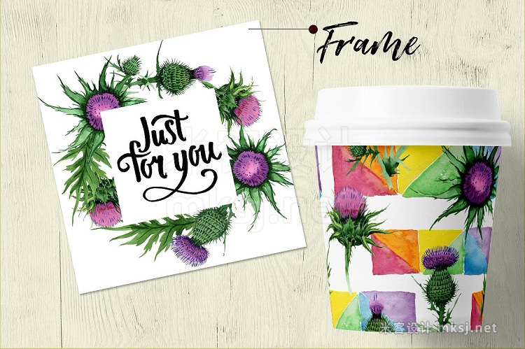 png素材 Thistle flowers PNG watercolor set
