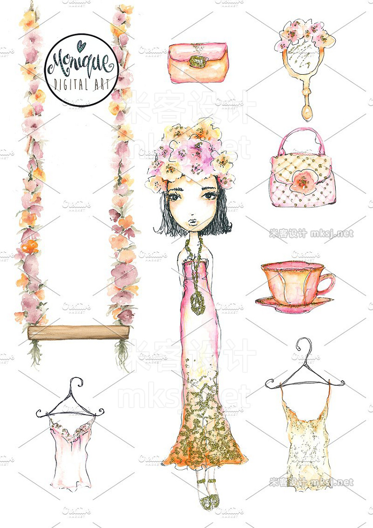 png素材 Fashion Girl clipart watercolor