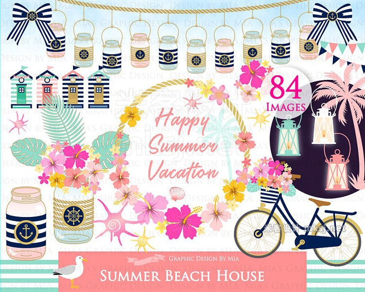 png素材 Beach House ClipartPattern set