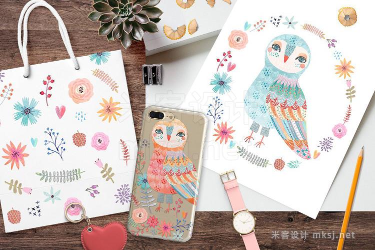 png素材 Watercolor owls clipart