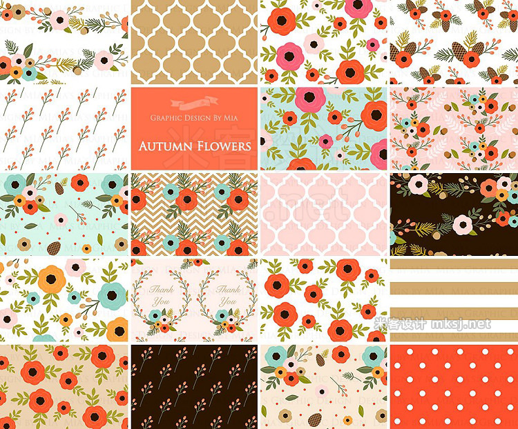 png素材 Autumn Flowers ClipartPattern set