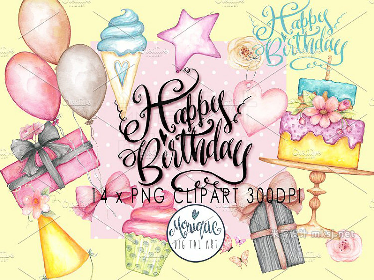 png素材 Happy Birthday Clipart Watercolor