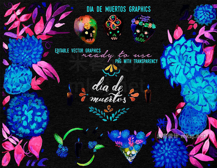 png素材 Mexican day of the dead ornaments
