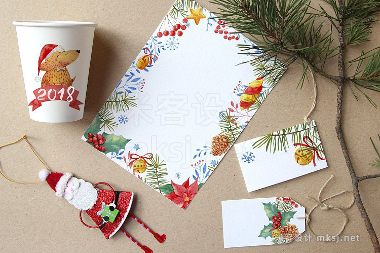 png素材 Watercolor New Year's set