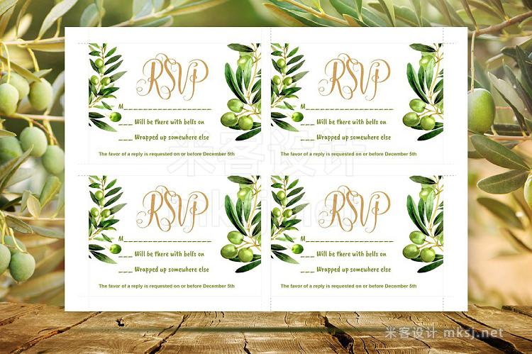 png素材 Wedding invitation olive DiY