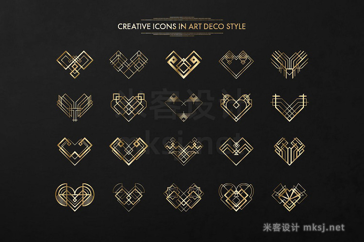 png素材 40 Vector Hearts Art Deco Style