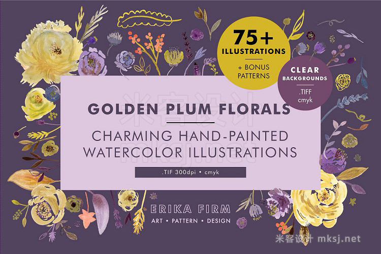 png素材 Golden Plum Floral Watercolors