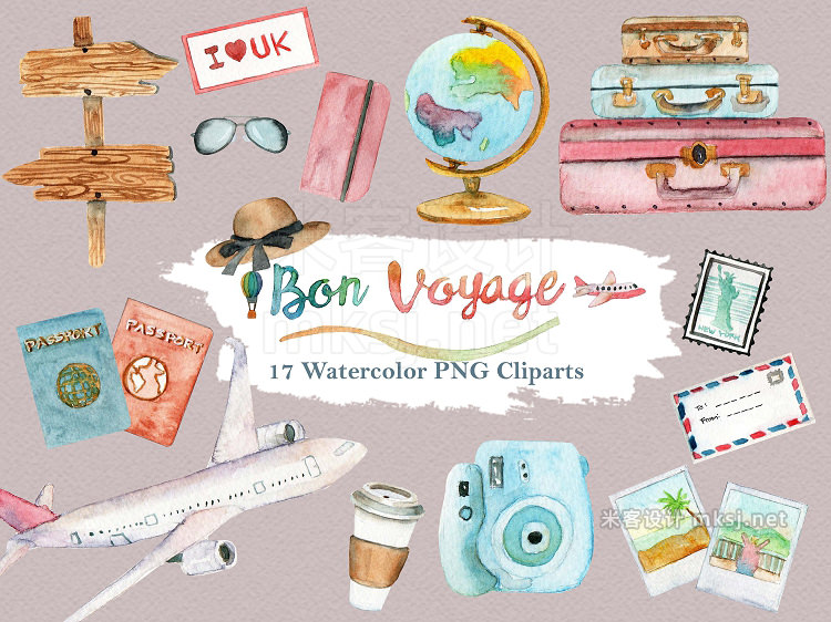 png素材 Watercolor Travel World Clipart Set