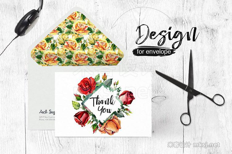 png素材 Roses flowers PNG watercolor set