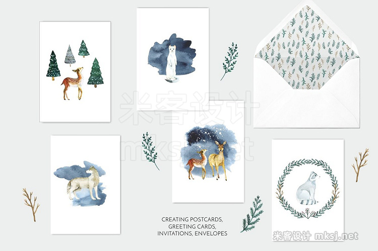 png素材 Watercolor set Magical winter forest