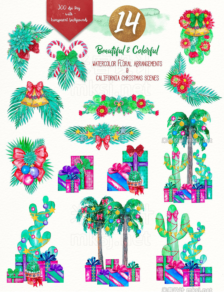 png素材 Christmas in California clipart set