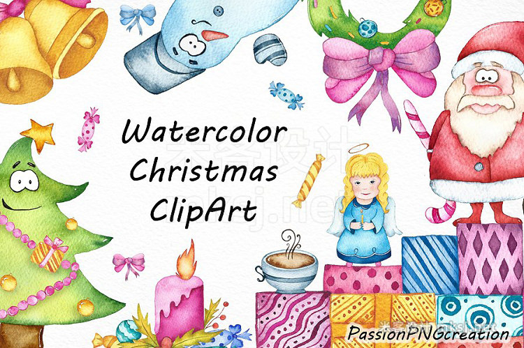 png素材 Watercolor Christmas clipart