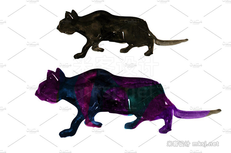 png素材 Watercolor Cat Silhouettes Clipart