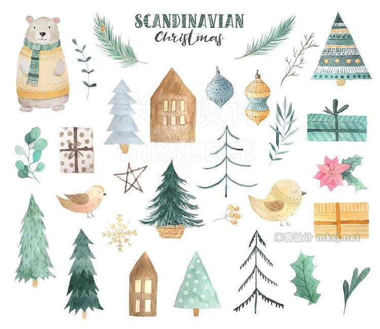 png素材 Scandinavian Watercolor Christmas