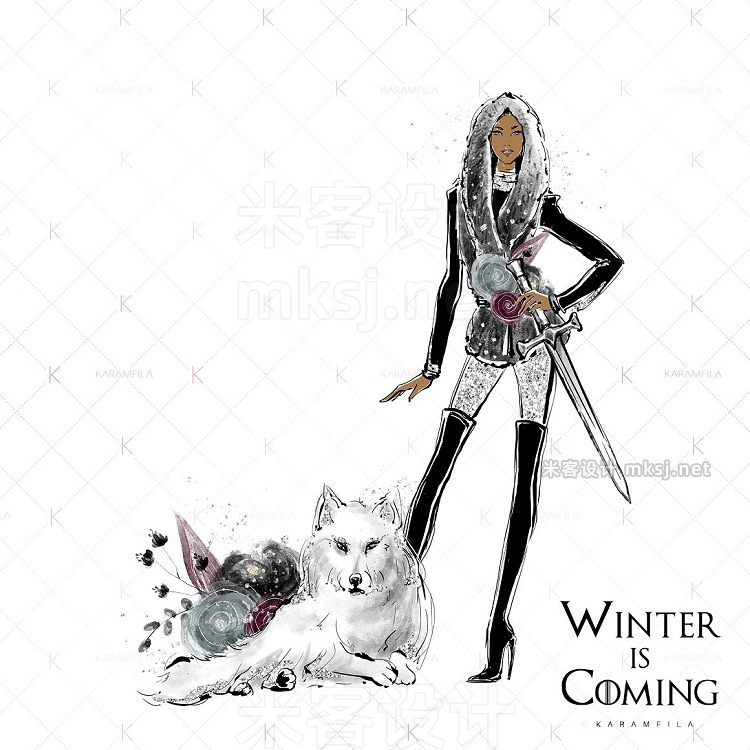png素材 Whimsical Winter Fashion Clipart