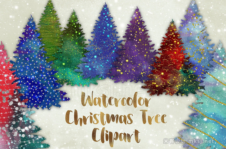 png素材 Watercolor Christmas Trees