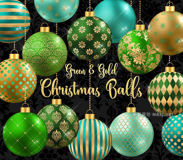 png素材 Green and Gold Christmas Balls