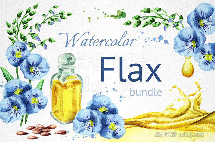 png素材 FLAX bundle Hand painted watercolor