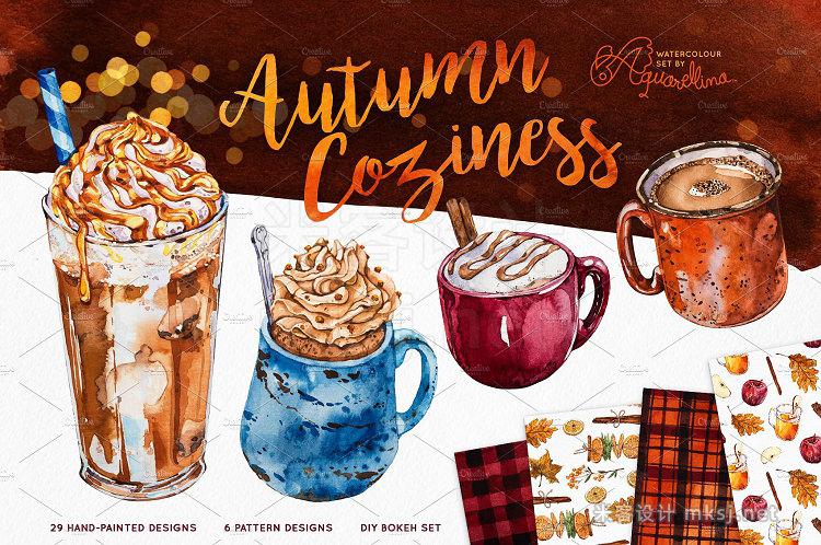 png素材 Autumn Coziness - Watercolour Set