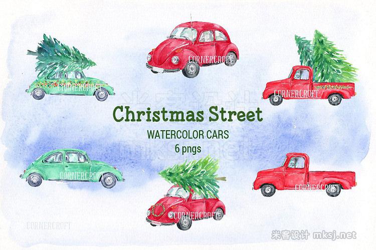 png素材 Watercolor Christmas Street