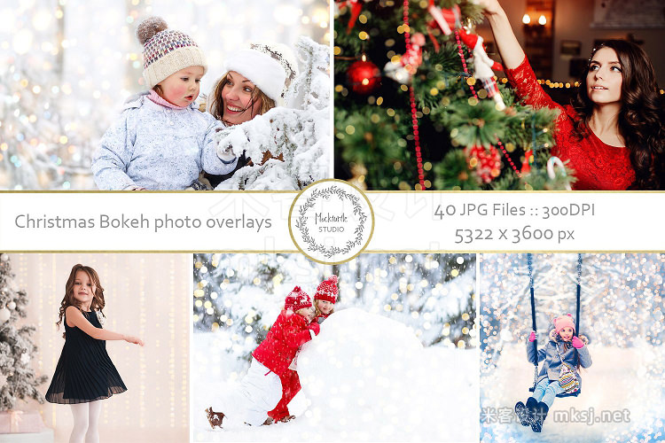 png素材 Christmas Bokeh Photo Overlays