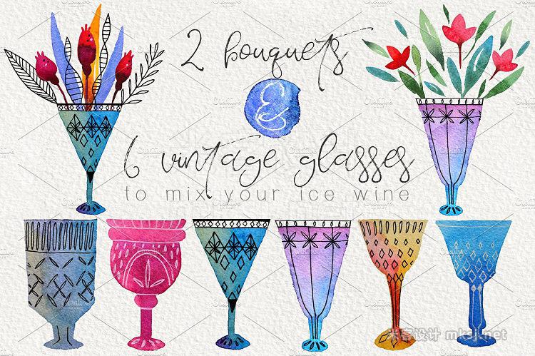 png素材 Ice Wine Watercolor design set