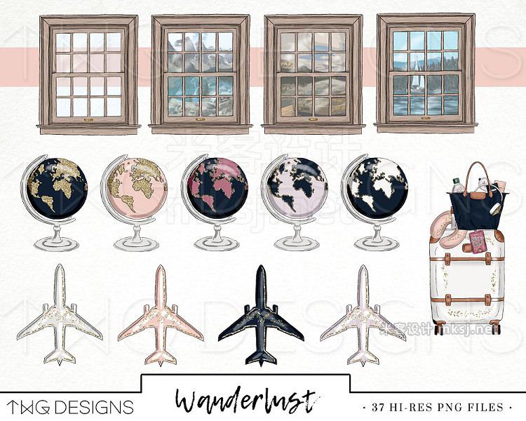png素材 Travel Fashion Girl Clip Art