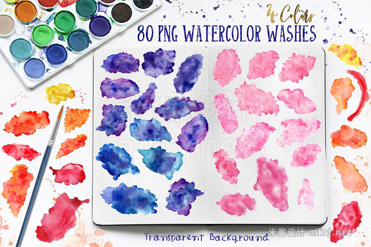 png素材 WATERCOLOR WASHES  design kit