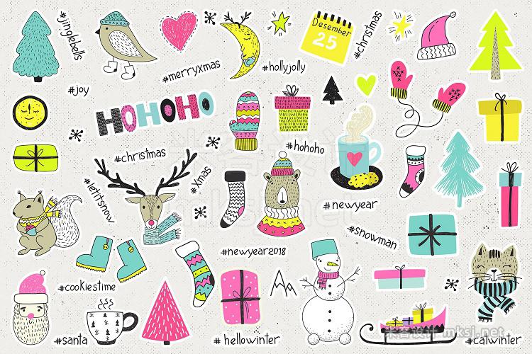 png素材 Merry Bright Xmas - holiday set