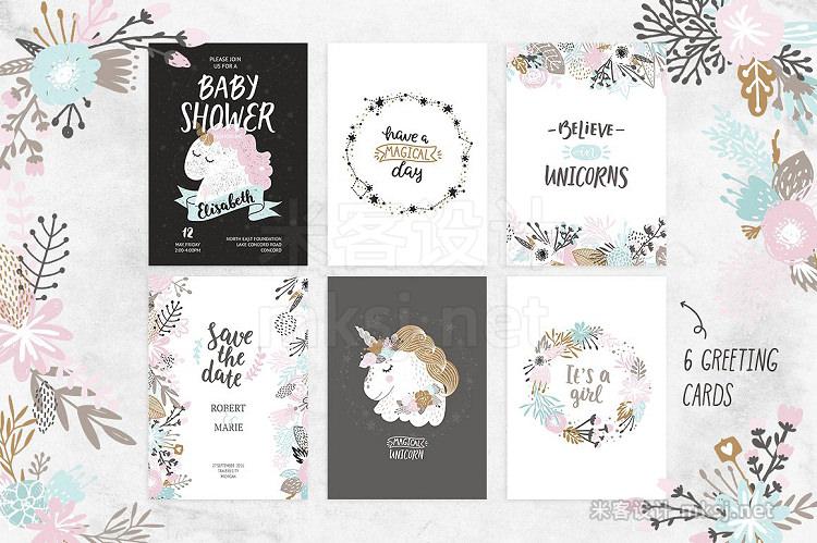 png素材 Unicorns and flowers