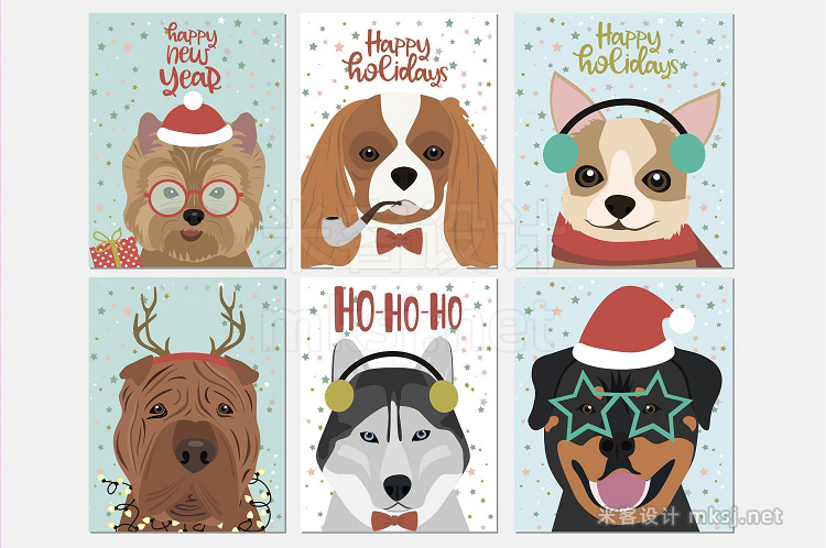 png素材 12 Cute Christmas Dogs