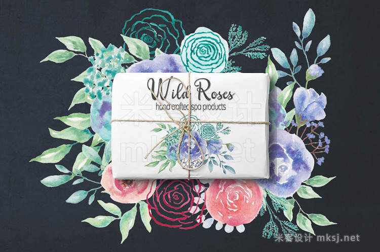 png素材 Watercolor wreath of 'mod' roses