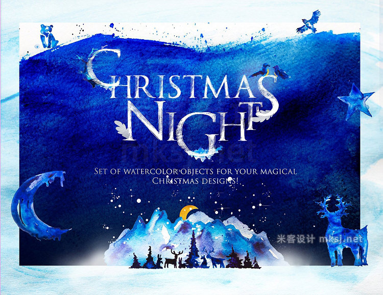png素材 Christmas Night in Forest-WinterSet