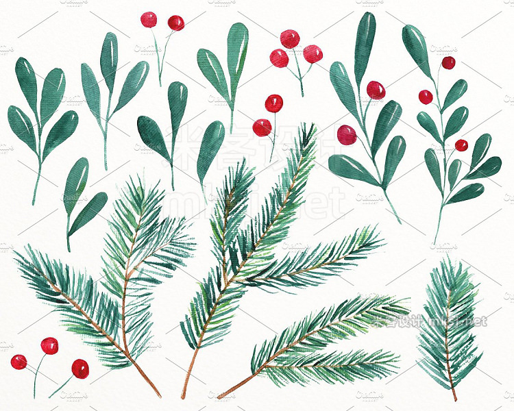 png素材 Christmas watercolor collection