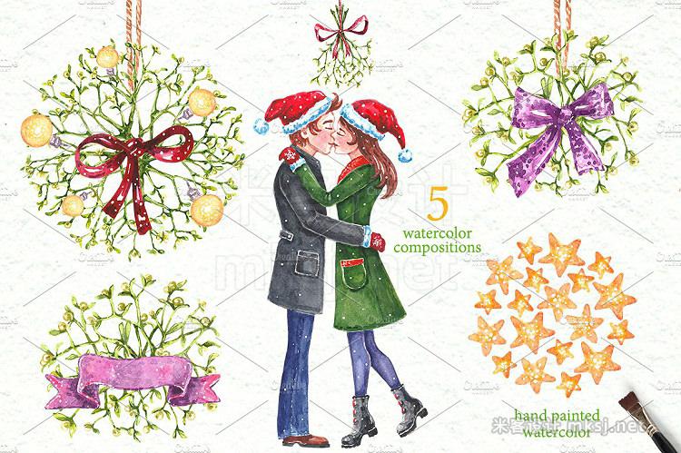 png素材 Christmas Mistletoe Watercolor Set