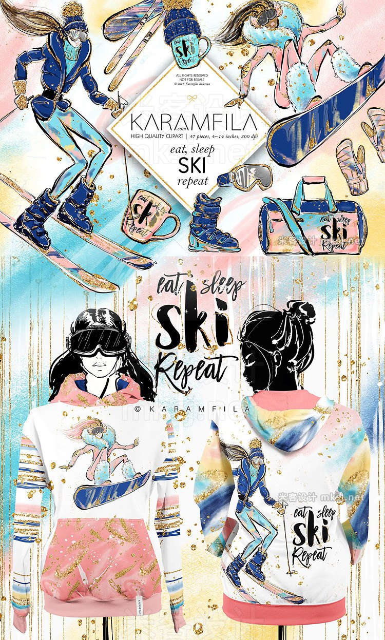 png素材 Skiing Snowboarding Clipart