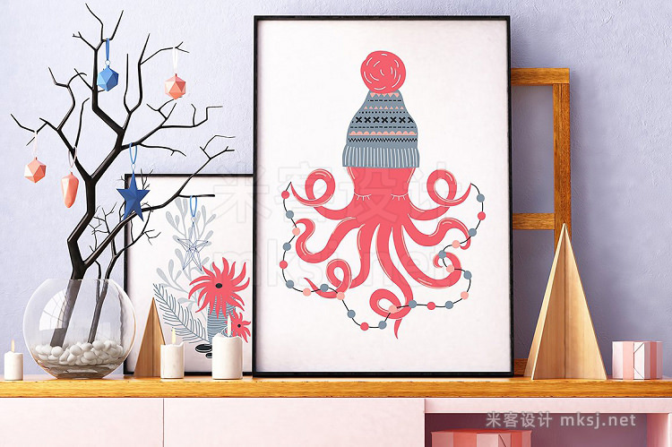 png素材 Coral Christmas clip art collection
