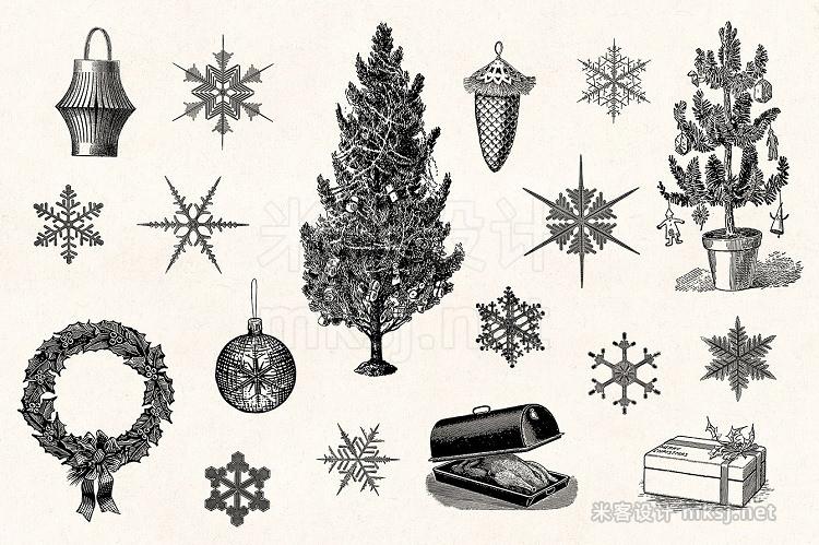 png素材 Winter Holidays - Vintage Engravings