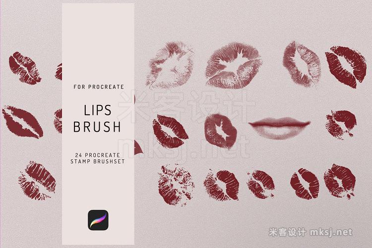 嘴唇印嘴唇轮廓procreate笔刷 24 Procreate Lips Stamp Brush
