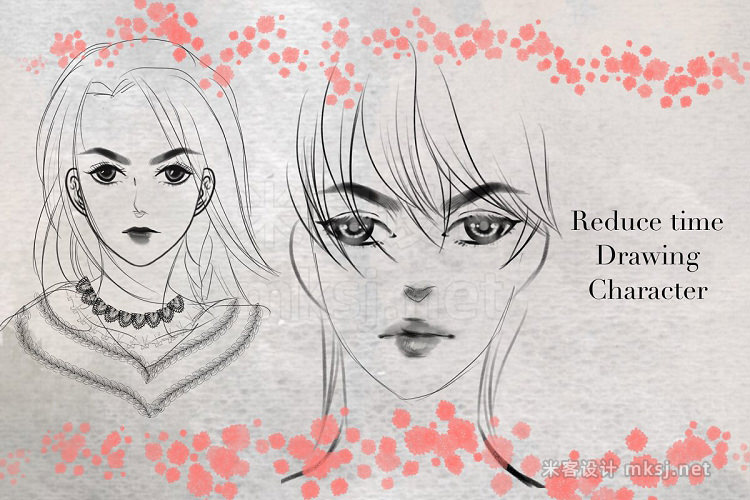 漫画女孩肖像绘画procreate笔刷 Manga Portrait Procreate Brush