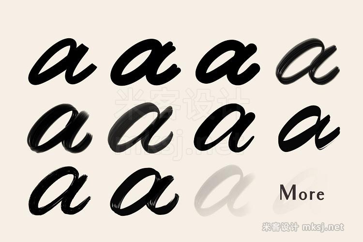 单线书法签名Procreate字体刻字笔刷 Procreate Lettering Brushes