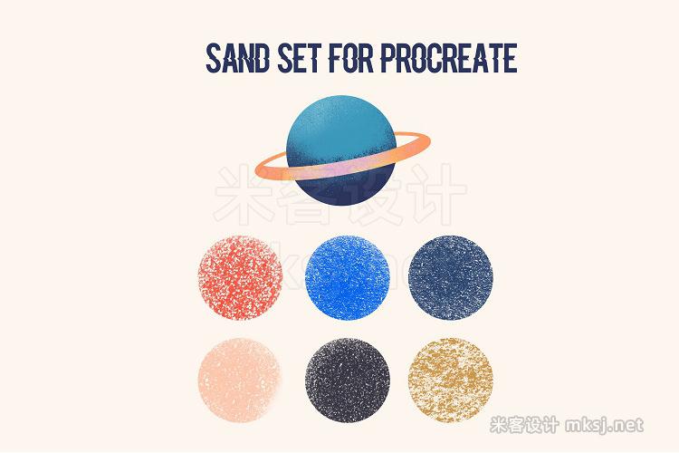 6款沙子细砂Procreate笔刷 Procreate texture brushes Sand