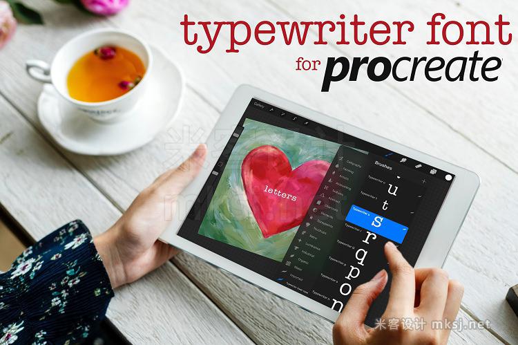 43款小写英文字母字符Procreate笔刷 Procreate Typewriter Font lowercase